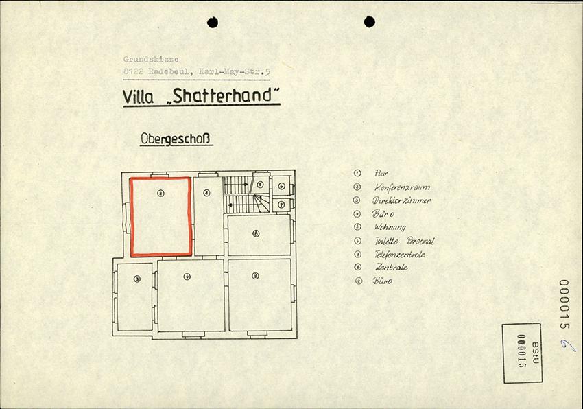 """Skizze der einzurichtenden Konspirativen Wohnung (KW) """"KW Karl"""" der Stasi in der """"Villa 'Shatterhand.'"""" von 1987 – René Wagner schlug laut Stasi-Unterlagen den Konferenzraum, die frühere Bibliothek Karl Mays, für diese Verwendung vor. (Quelle: BStU)"""