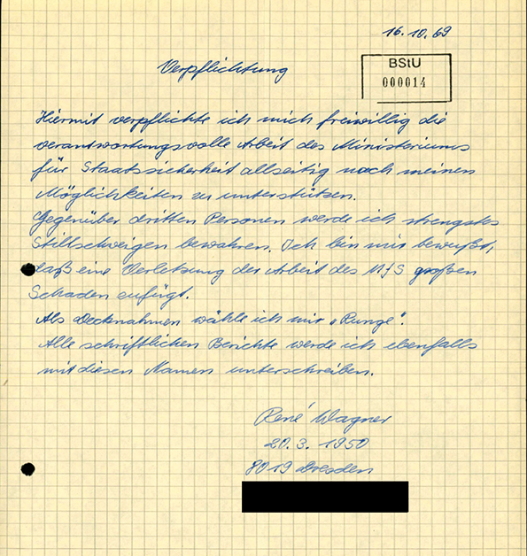 """Verpflichtungserklärung René Wagners als Stasi-Mitarbeiter """"Runge"""" vom 16.10.1969 (Quelle: BStU)"""